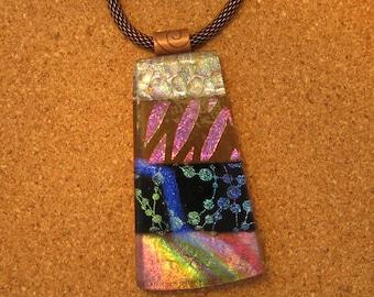 Dichroic Glass Pendant - Dichroic Jewelry - Dichroic Necklace - Fused Glass Pendant - Fused Glass Jewelry - Fused Glass Necklace