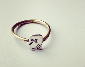 TWEET handforged sterling silver and bronze stacking bird ring.