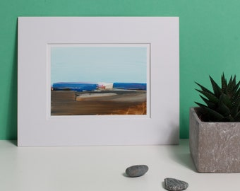 Blue Horizon, original abstract landscape, with Passepartout, optional with frame, modern image, beautiful gift, small painting