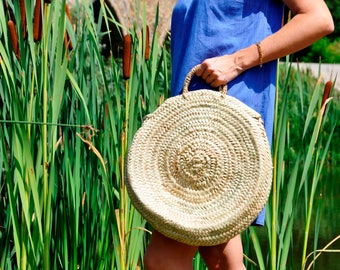 Round Handmade Straw bag - Round straw bag, Round basket, Summer bag, boho bag, French market basket, straw bag, straw basket
