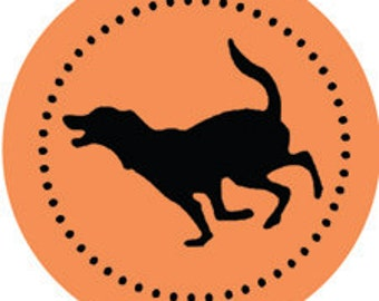 "Labs & Goldens - 2"" round retro STICKERS of 5 dog poses by Nicole Straburg"