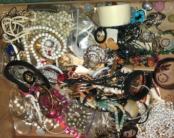 Jewelry Destash Lot 8 Pounds lbs of Vintage to Now Jewelry Necklaces Earrings Pieces