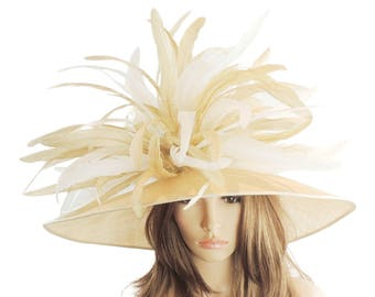 Gorgeous Pale Gold & Cream Woodpecker Hat for Kentucky Derby, Weddings (40 colours available)