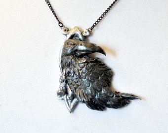 Crow Necklace, Raven Necklace, Gothic Necklace, Halloween Necklace, Crow Pendant, Raven Pendant