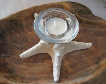 Clear Glass Knobby Starfish Candle Holder - Candle Accessory - Tealight - Beach Wedding - Wedding Favors - Wedding Decor - Seashells