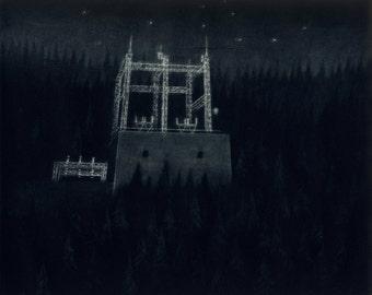 Forest Power Plant - Original Mezzotint