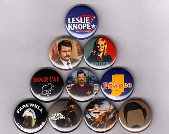 "Parks and Recreation 1"" Pins/Buttons (ron swanson bacon knope mouserat rec shirt badges patch)"