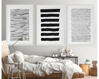 Abstract Wall Art, Line Drawing, Black and White Abstract Art Print, Print Set of 3, Large Abstract Art, Living Room Decor, Modern Wall Art