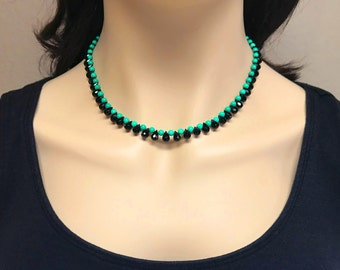 Black Onyx Briolette Green Turquoise Necklace