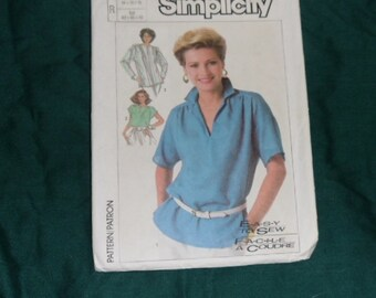 Simplicity Easy to Sew Tops Pattern #7450 Size R