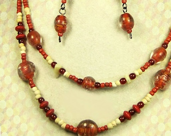 2 strand beaded boho necklace, brick red orange necklace, matching dangle earrings, gifts under 20