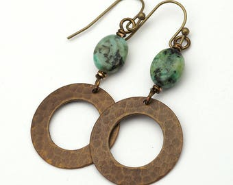Blue green copper circle earrings, African turquoise semiprecious stone, dangle, casual
