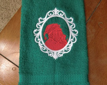 Embroidered Terry Hand Towel - Christmas - Santa Siloutte