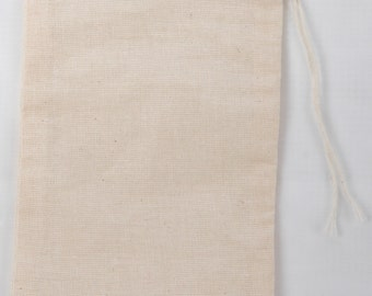 25 6x10 inch Cotton Muslin Natural Drawstring Bags
