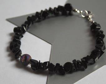 Druzy Agate and Obsidian Bracelet
