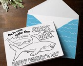 INSTANT DOWNLOAD Father's Day Card Shark Week Boys Coloring Page Card DIY Craft