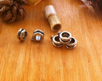 5 round bails with a central Groove for creations of jewels, antique silver color