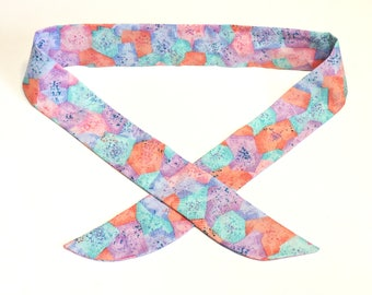 Cooling Neck Bandana Scarf, Pastel Geometric Stay Cool Tie Wrap, Gel Neck Cooler, Body Head Heat Relief Headband, Spa Relaxation iycbrand