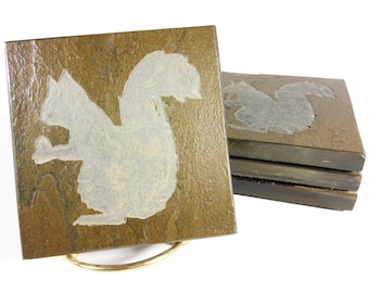 Squirrel Coasters - 4 Etched Slate Coasters - Hand Carved Stone Coaster, Animal Beverage Coasters, Nature Forest Porch Patio Home Decor Gift