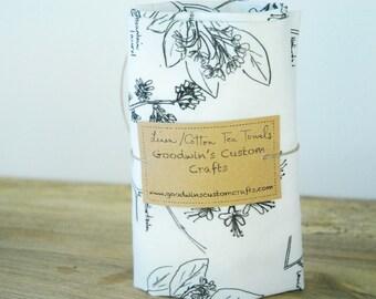 Linen Tea Towel - Large Botanical Sketch