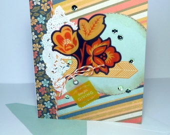 Happy Thanksgiving Greeting Card - Handmade Paper Card Time for Giving