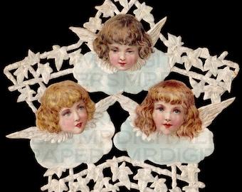 Angels and Cherubs. Angels Wings. Star. 11.25 x 12. Victorian Digital Paper Download Scrapbooking Supplies Instant Download. High Resolution