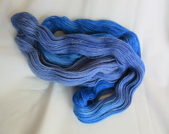 100% Alpaca -Hand Dyed/Painted - Sapphire Blue & Periwinkle - 3 Ply DK Weight Yarn - 250 Yds - 12-14 WPI