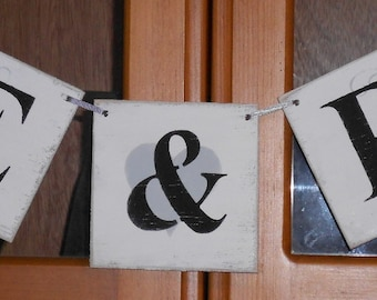 Wedding Initial Banner Garland Shabby Chic White Wood Tiles Custom Colors Photo Prop