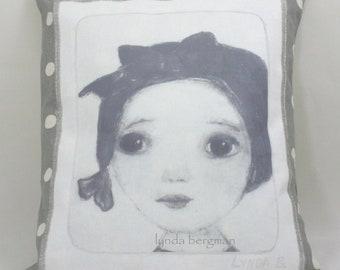 "GRACE Art Deco Girl on Decorative Pillow 15""x13"""