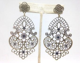 Stunning Estate Blue Rhinestone Flower Gold Tone Pierced Earrings