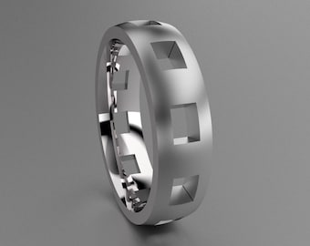 Silver 6mm Brushed Mens Wedding Band with Clean Pierced Holes, Classic 925 Sterling Silver Wedding Ring w/ Cutouts, Simple Mens Wedding Ring