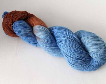 Trio Ice, Hand dyed BFL Sock 4-ply, 75/25 sw BFL/nylon