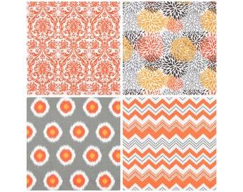 Orange Grey Window Curtains.Chili Orange Curtain Panels.Chevron Curtain Panels.Optional Blackout Curtain.Orange Damask Drarpery