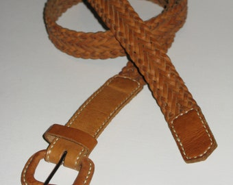 Classic Carmel Brown Braided Leather Belt w Leather Buckle Fits up to 36 inch 92 cm