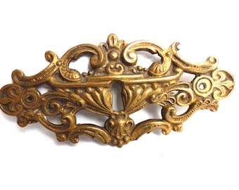 Keyhole Cover, Large Antique Ornate Stamped  Keyhole Cover, Escutcheon, Floral Brass Keyhole frame, Furniture Applique. #643G6BK18
