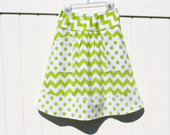 Lime Chevron A Line Skirt, Chevron with Lime dots, Apron Pockets, Apron, Hip Skirt, Custom Made to Fit ANY Size, or Length.