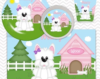 Dog House Pink Plate, Bowl, Cup, Placemat - Personalized Dog Dinnerware for Kids - Custom Tableware