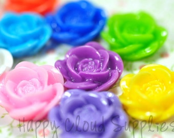 Colorful 18mm Resin Rose Cabochons... 10pcs... Pick Your Colors