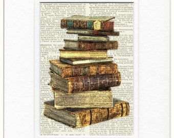 antique books stack page print