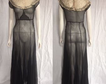 1930s evening gown, silk chiffon with lace yolk