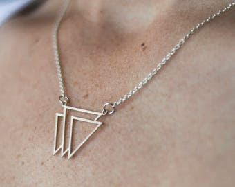 Triple triangle minimalist aztec Tribal geometric silver gift idea