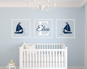 Custom Name Wall Decal - Fishing Boy Wall Decal - Nautical Wall Decal - Baby Room Decor - Nursery Wall Decals Vinyl