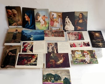 Lot of 19 Vintage to Antique Postcards of Famous Artworks - Some from Abbey's Quest for the Holy Grail - Mona Lisa - Unused Blank
