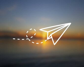 DECAL {Paper Plane} Travel Decal | Origami Decal | Vinyl Decal | Car Window Decal | Laptop Decal | Water Bottle Decal | Phone Decal