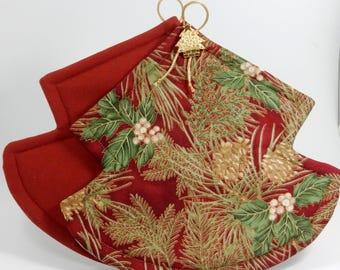 Christmas Tree Pot Holders - Pine Boughs on Burgundy - Set of Two