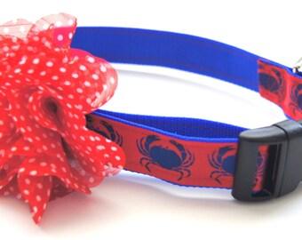 Red Polka Dot Flower Dog Collar Attachment