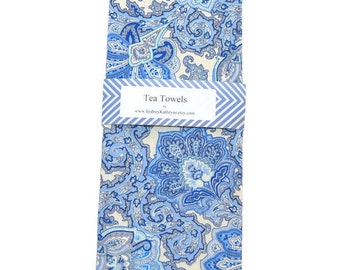 Tea Towels, Shabby Cottage Dish Towels, Decorative Kitchen Towels, Blue and White Paisley