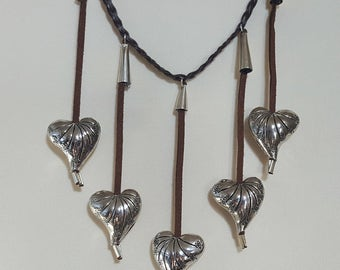 Leather Fringe Necklace with Silver Plated hearts