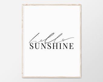 Hello Sunshine Print, Quote Print, Typography Print, Summer Print, Scandinavian Print, Tropical Poster, Wall Art Print, Inspirational Art