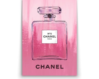 CHANEL No 5 No.5 Pink Perfume Bottle Painted - Wall Art Print Poster Canvas